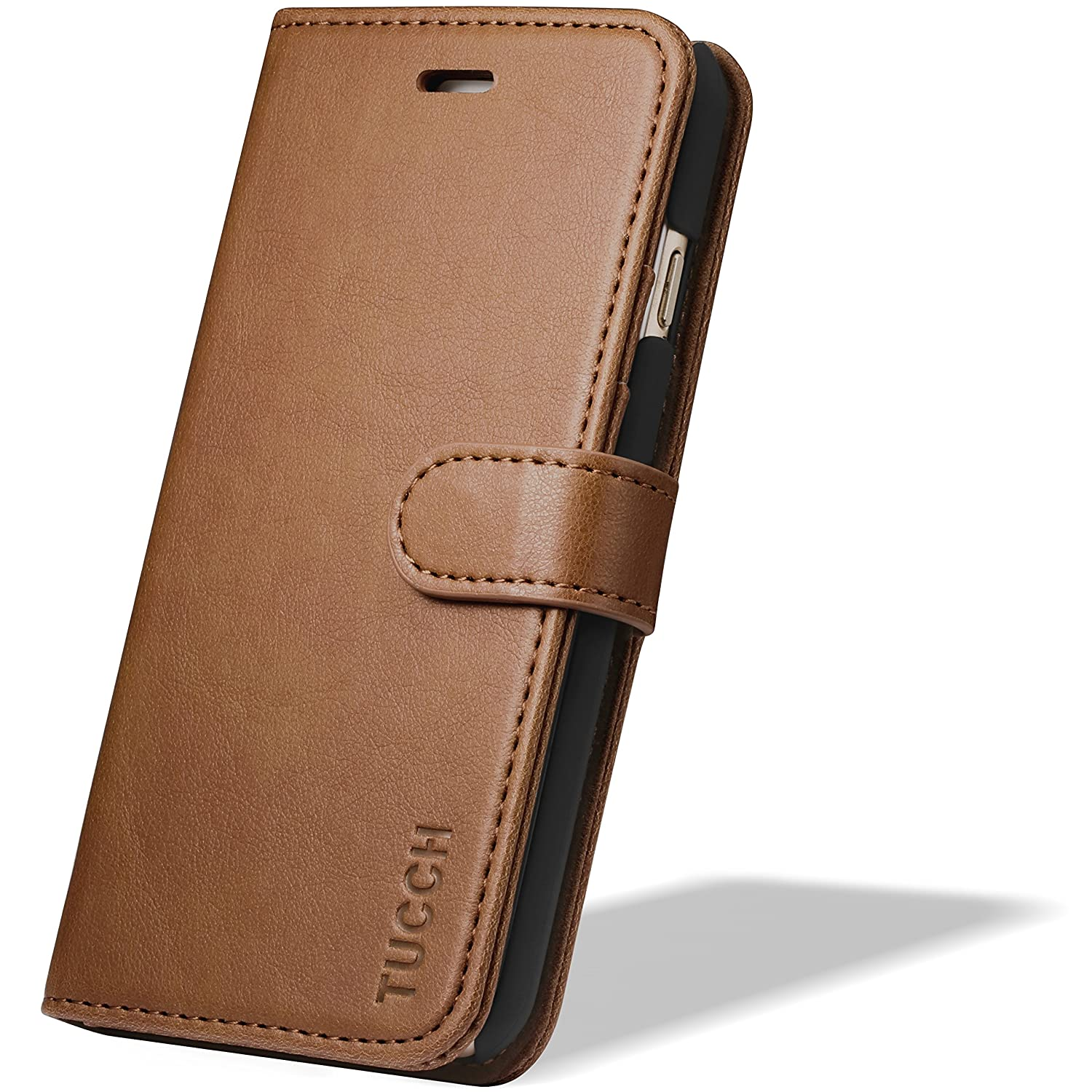 iPhone 6s/6 Case, iPhone 6s/6 Wallet Case, TUCCH Premium PU Leather Flip Folio Wallet Case with Card Slot, Cash Clip, Stand Holder and Magnetic Closure, Brown and Blue