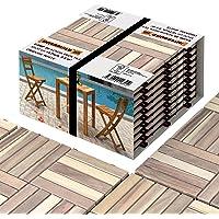 Interbuild Acacia hardhouten tegels 30 × 30 cm | biologisch wit | patio & balkon | 10 tegels = 0,9 m² per verpakking…