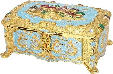 Roselife-Metal Cajas de joyería, clásico Vintage Forma joyería Caja Anillo pequeño Trinket joyería Almacenamiento Caja Organizador (Light Blue,Vintage Red) (Light Blue): Amazon.es: Joyería