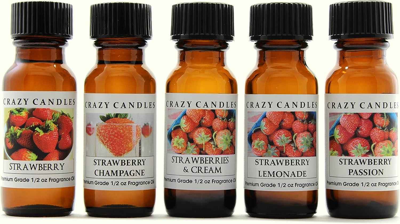 Crazy Candles 5 Bottles Set: 1 Strawberry, 1 Strawberry Champagne, 1 Strawberry & Cream, 1 Strawberry Lemonade, 1 Strawberry Passion 1/2 Fl Oz Each (15ml) Premium Grade Scented Fragrance Oils