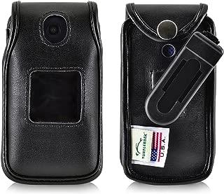 product image for Turtleback Fitted Case for Consumer Cellular Alcatel GO FLIP, Flip V, Phone Black Leather Also for ATT Cingular FLIP2 and T-Mobile 4044W, MYFLIP (A405DL) Ratcheting Removable Belt Clip