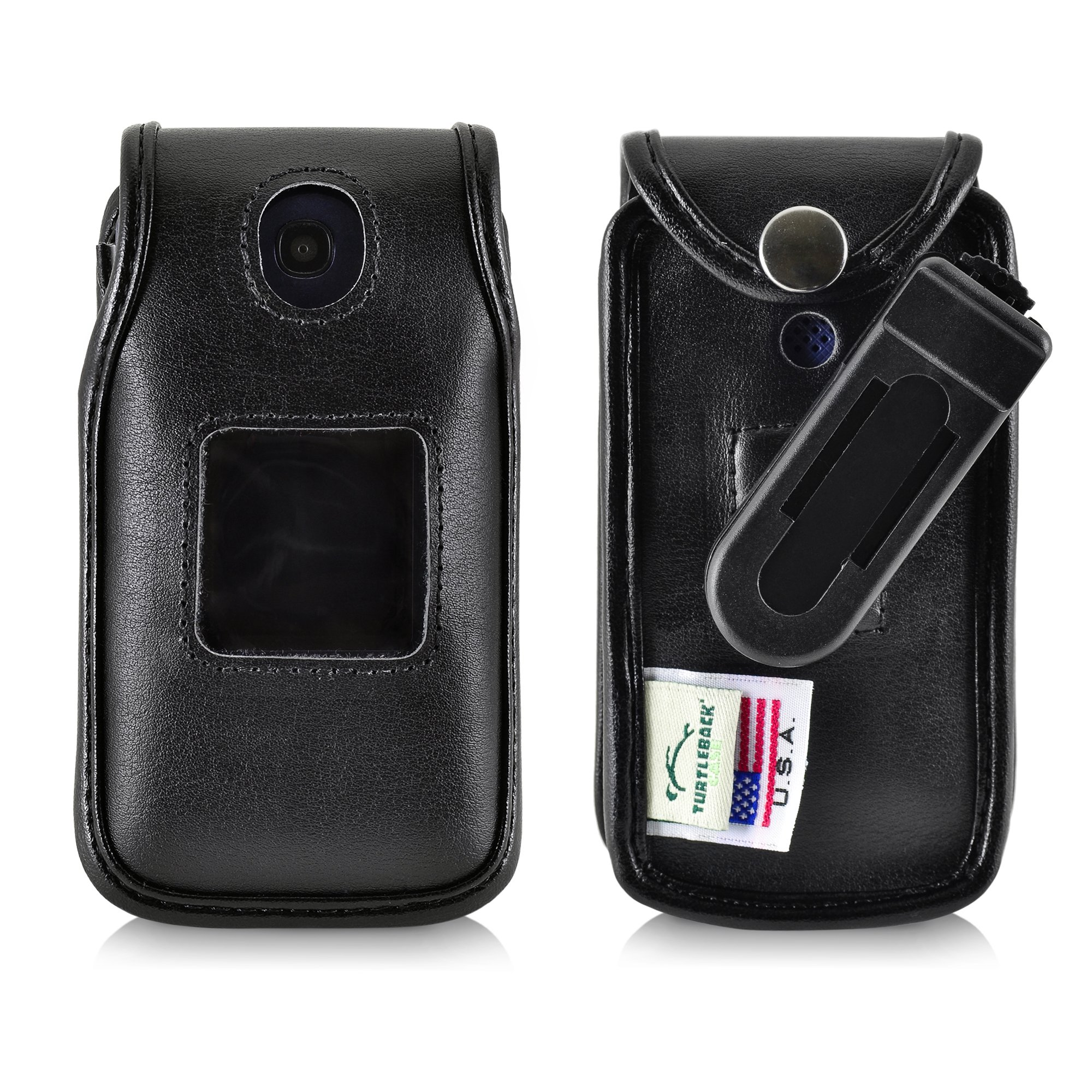 Turtleback Fitted Case for Consumer Cellular Alcatel GO FLIP Phone Black Leather Also for ATT Cingular FLIP2 and T-Mobile 4044W, MYFLIP (A405DL) Ratcheting Removable Belt Clip by TurtleBack