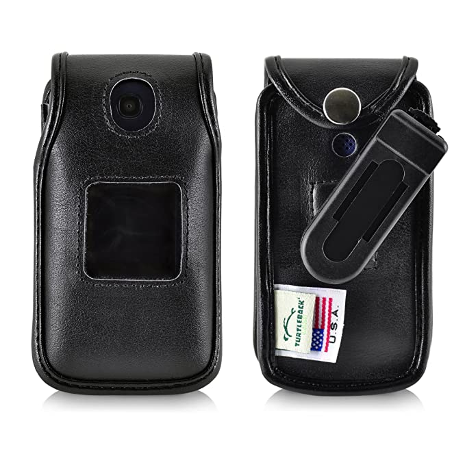 super popular fe846 eb569 Turtleback Fitted Case for Consumer Cellular Alcatel GO FLIP Phone Black  Leather Also for ATT Cingular FLIP2 and T-Mobile 4044W Ratcheting Removable  ...