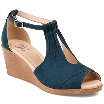 d72249574f9a Journee Collection Womens Comfort Sole Ankle Strap Wedges Blue, 11 Regular  US