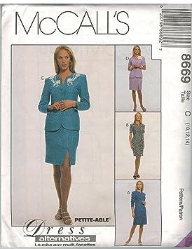 Patrón de costura princesa Front botón chaqueta vestido falda patrón de costura McCall 8669