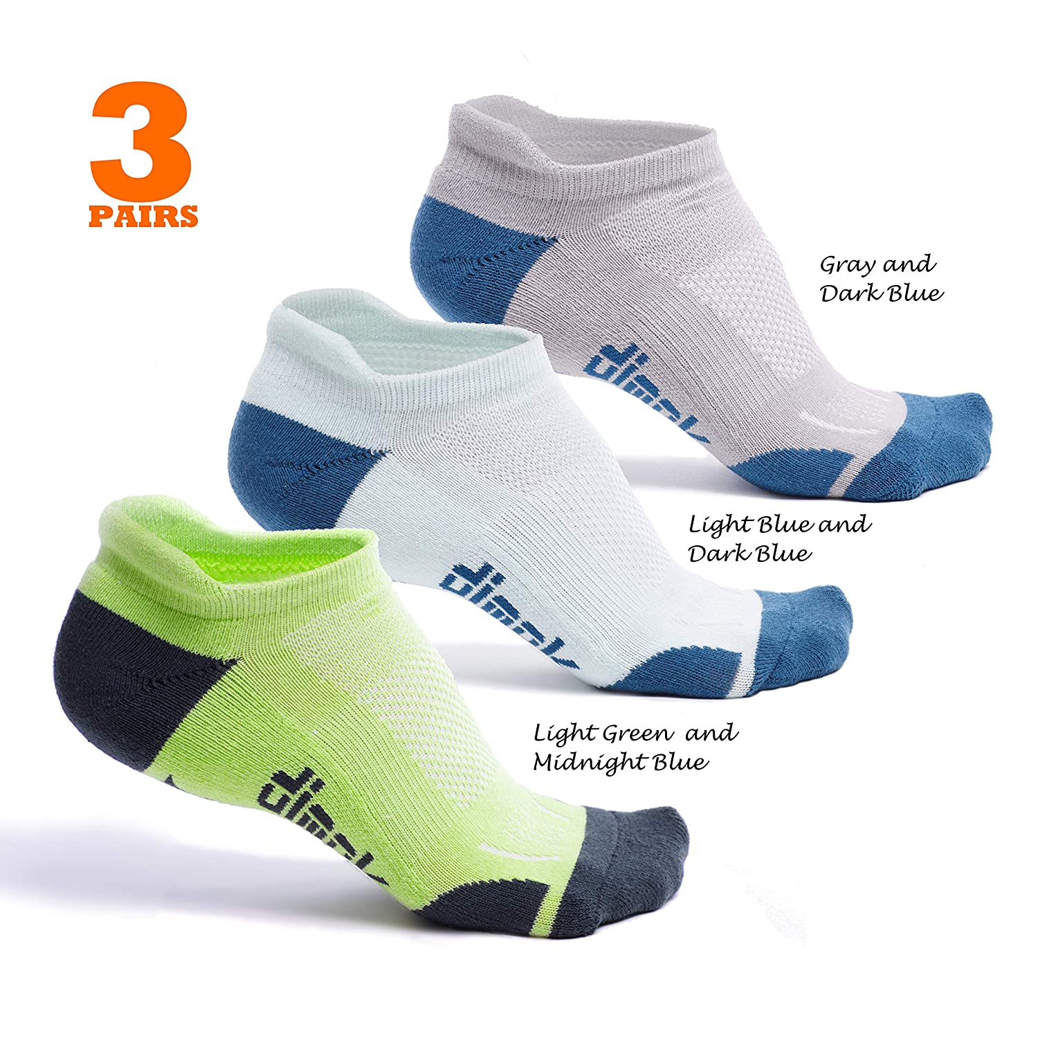 Athletic Running Socks - No Show Wicking Blister Resistant Long Distance Sport Socks Men Women dimok