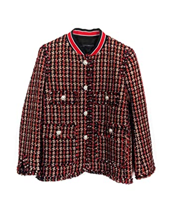 2454970a06c Zara Women Tweed Jacket with Striped Detail 2148 667 - Red - X-Small   Amazon.co.uk  Clothing