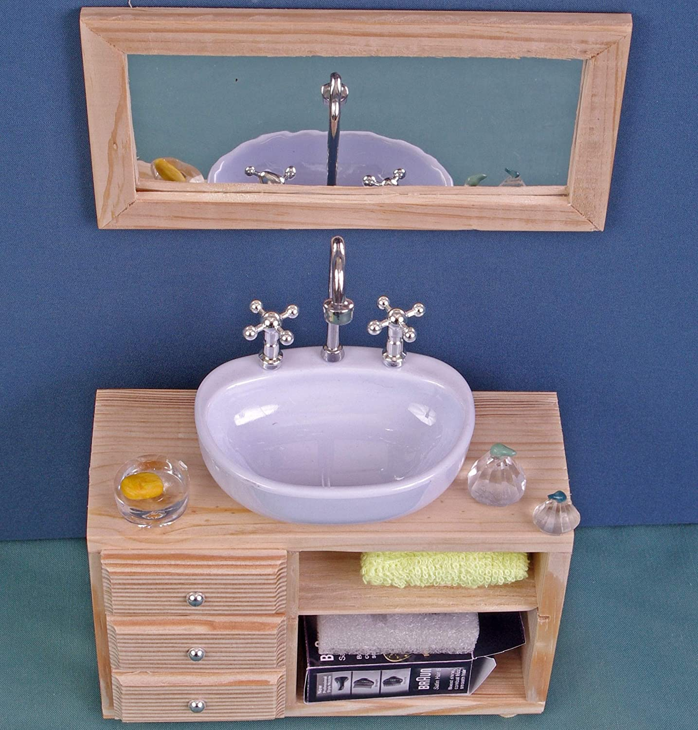 Amazon Com Ceramic Washbasin With Cabinet Bathroom Sink Dolls House Wooden Furniture 12 Inch Dolls For Barbie Blythe Bathroom Accessories Role Playing Game Collectible Miniature Handmade