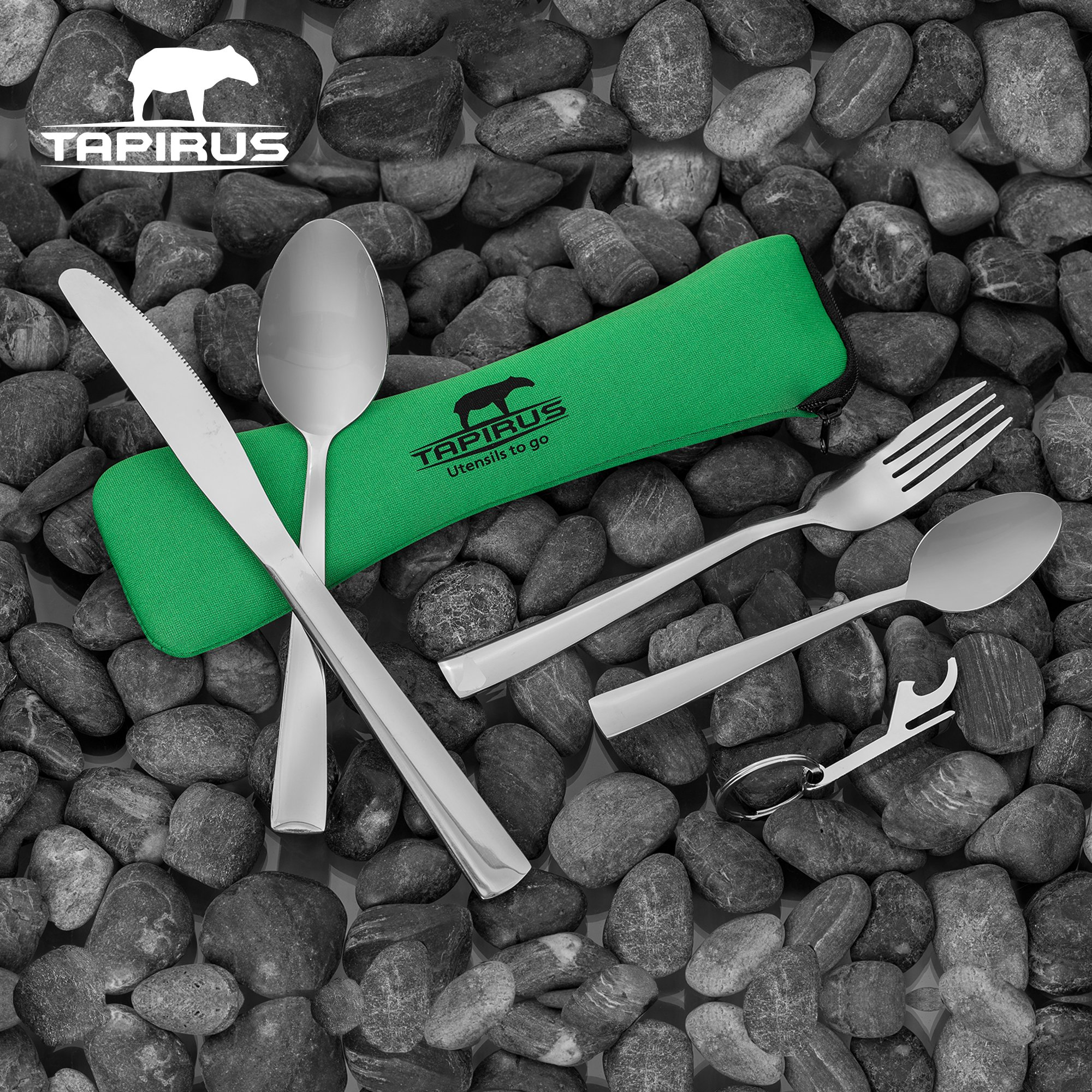 Tapirus Camping Eating Utensils To Go   Durable Stainless Steel Lightweight Construction Flatware   Travel Mess Cutlery Kit With Spoon, Teaspoon, Knife, Fork & Bottle Opener   Comes In A Carrying Case by Tapirus (Image #8)