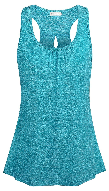 bacb5f91ec73dc Amazon.com  Nandashe Women s Scoop Neck Racerback Tank Top Summer Loose  Cool Workout Camis  Clothing