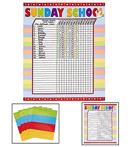 Amazon com sunday school attendance sticker charts includes six