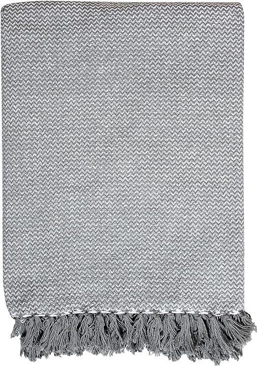 EHC Wave algodón sofá sillón Cama Manta, Gris, grande/150 x 200 cm ...