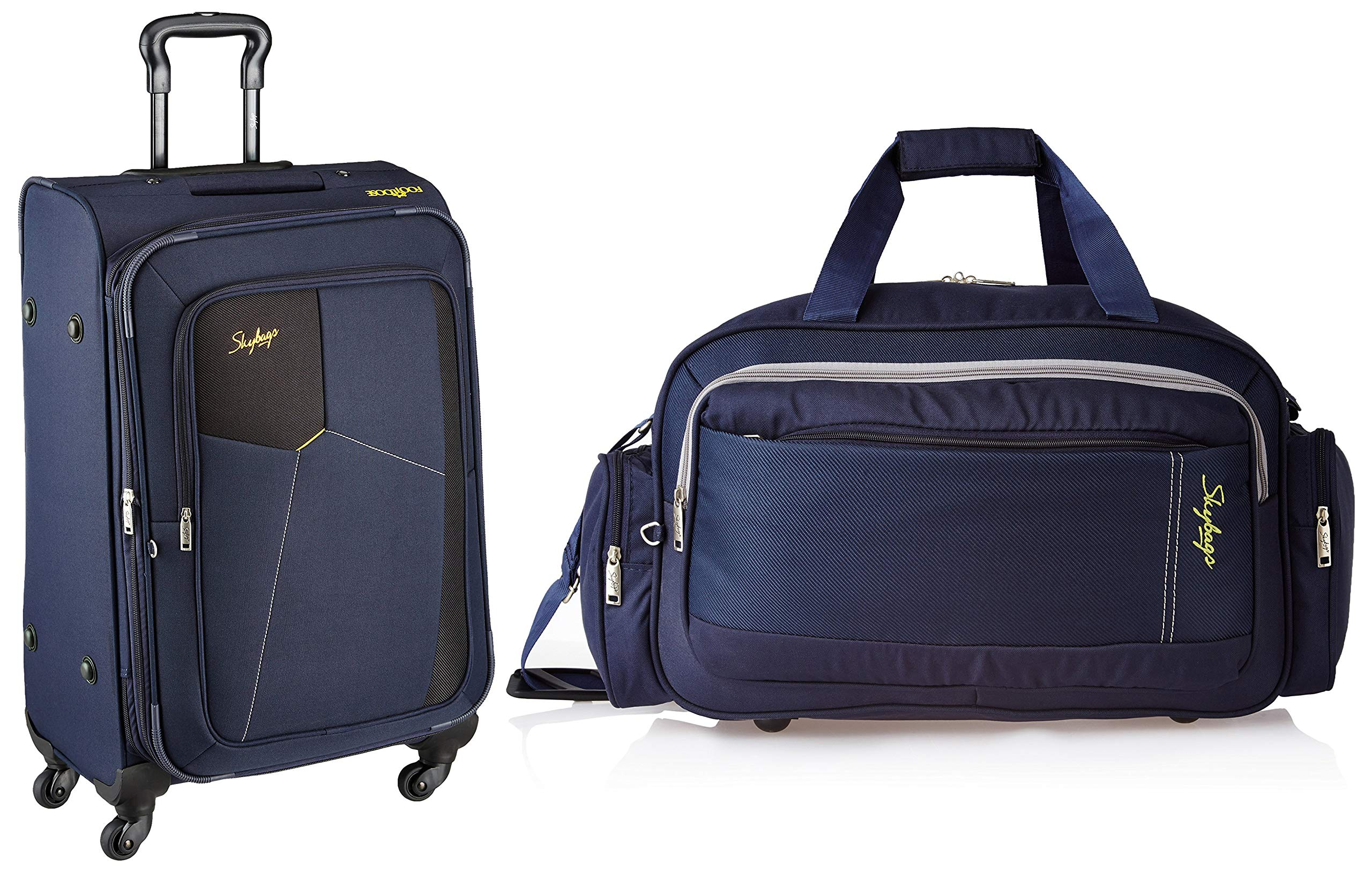 Skybags Footloose Rubik Polyester 580 mm Blue Softsided Cabin Luggage + Cardiff Polyester 55 cms Blue Travel Duffle (STRUW58EBLU + DFCAR55BLU) product image