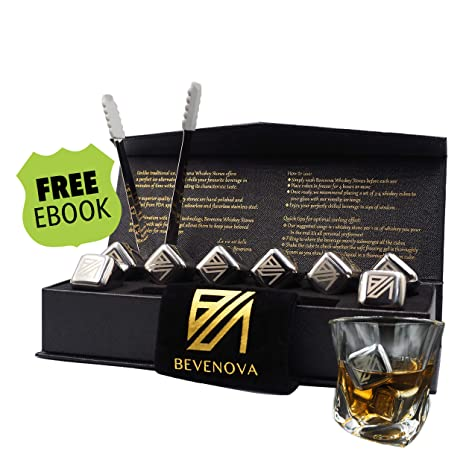 Bevenova Luxury Whiskey Stones Gift Set - 8 Etched Stainless Steel Reusable Chilling Cubes â Customized
