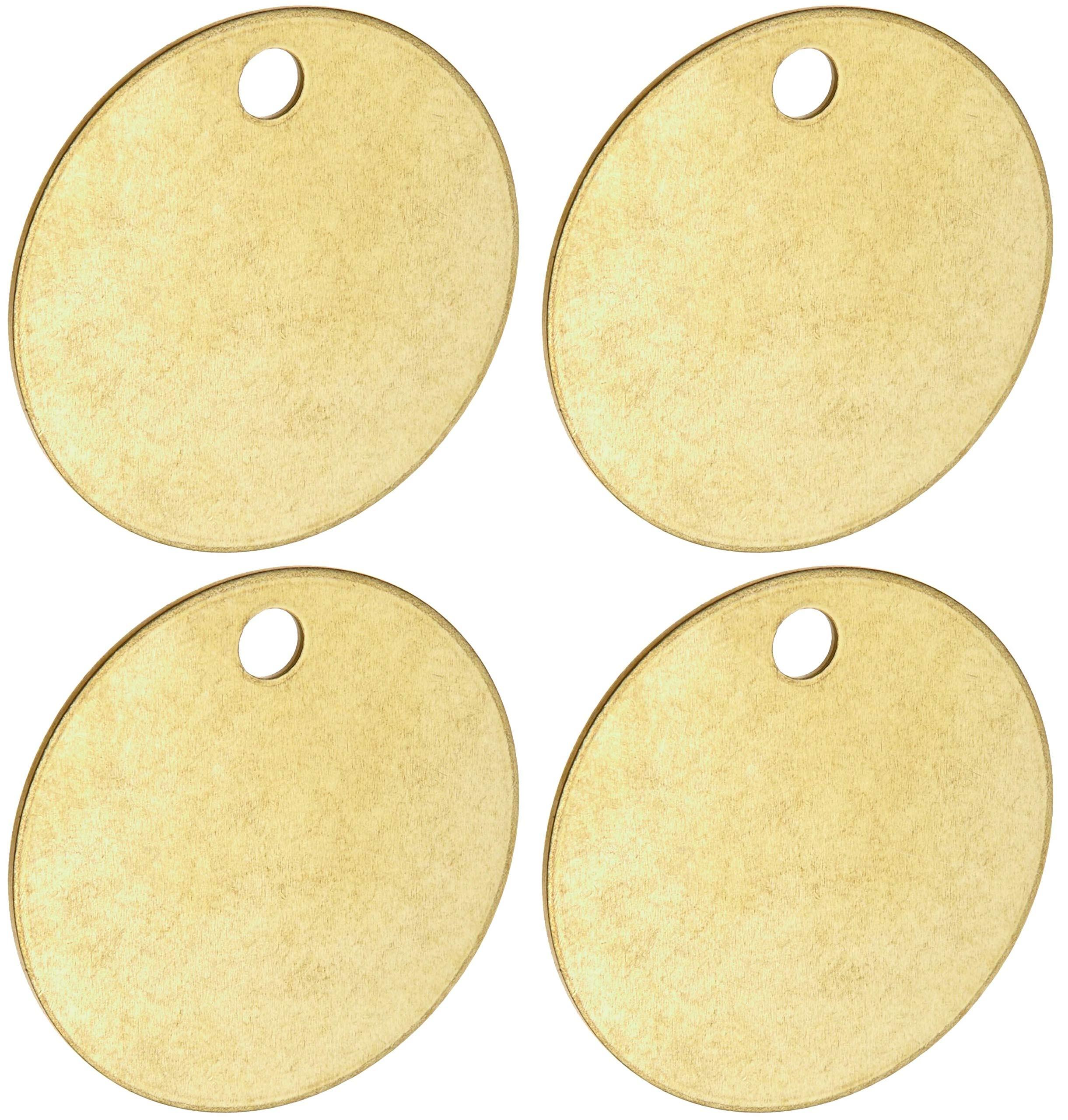 Brady Blank Valve Tags - Round Brass Tags, 1-1/2'' Diameter, B-907 (Pack of 25) - 23210 (Вundlе оf Fоur)