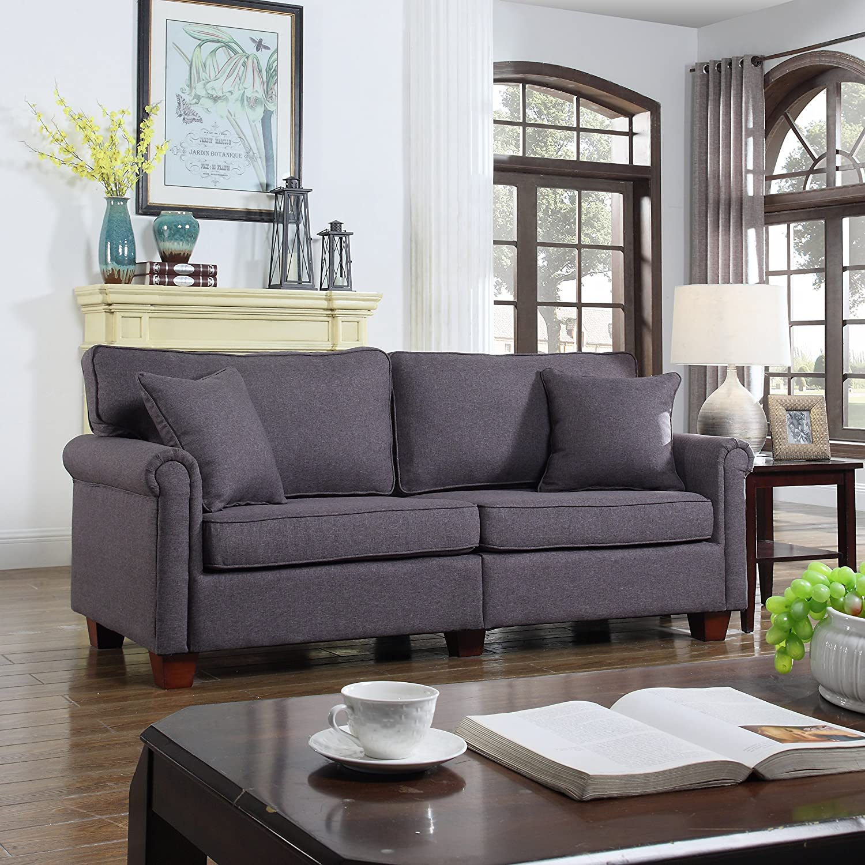 DIVANO ROMA FURNITURE Classic 73-inch Love Seat Living Room Linen Fabric Sofa (Dark Grey)
