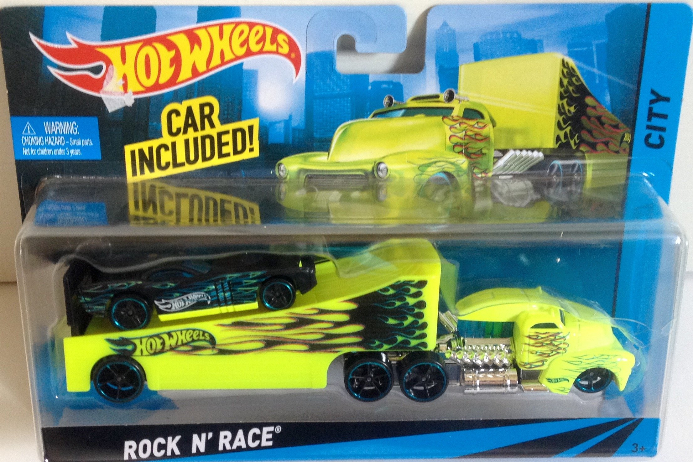 Hot Wheels Rock N' Race City GreenTransporter and Rig with Black Sports Car