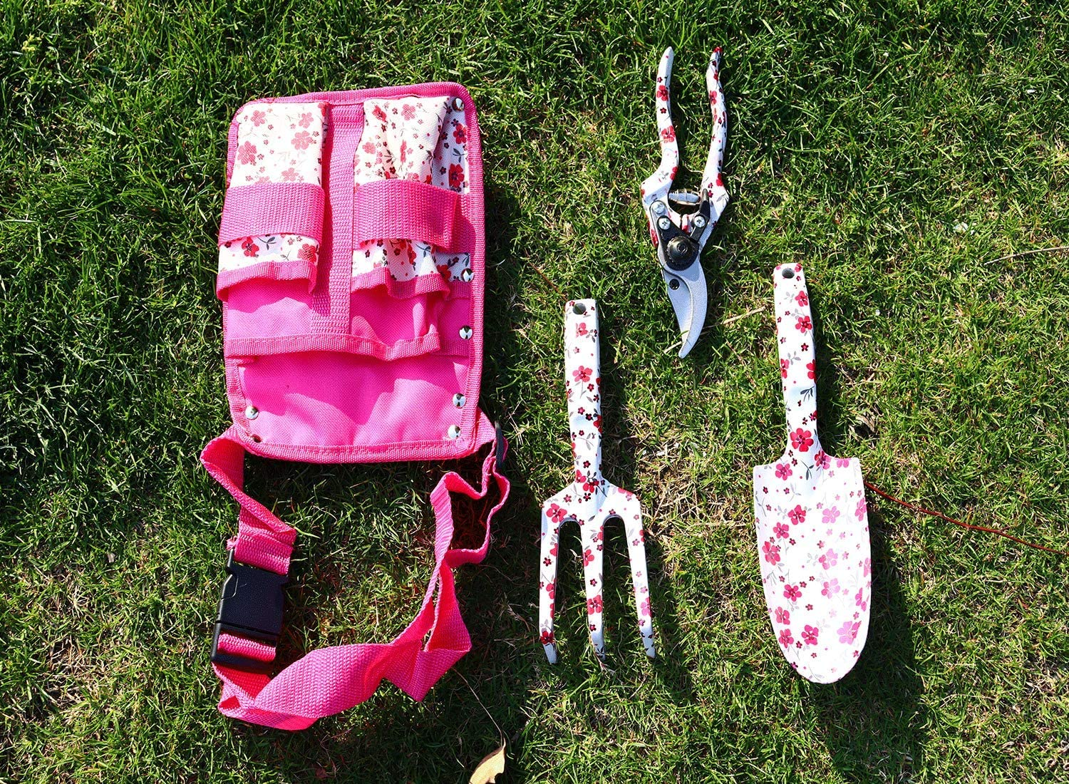 JYNselling 3 Pieces Garden Hand Tool Set, Gardening Kit Includes Trowel, Pruning Shears, Hand Rake with Belt Carrying Bag- Pink, Flower Print, Women Gift