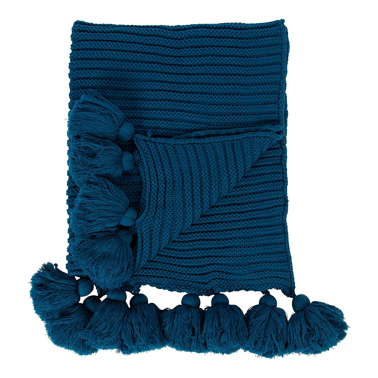 Kate and Laurel Tassey Large Chunky Ribbed Knit Throw Blanket with  Oversized Corner Tassels, 80 x 50-inches, Teal