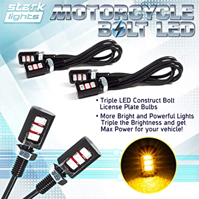 Car/Motorcycle License LED Bolt Screw - Triple Row SMD - High Power License Plate LED Light - Amber Yellow 3000K: Automotive