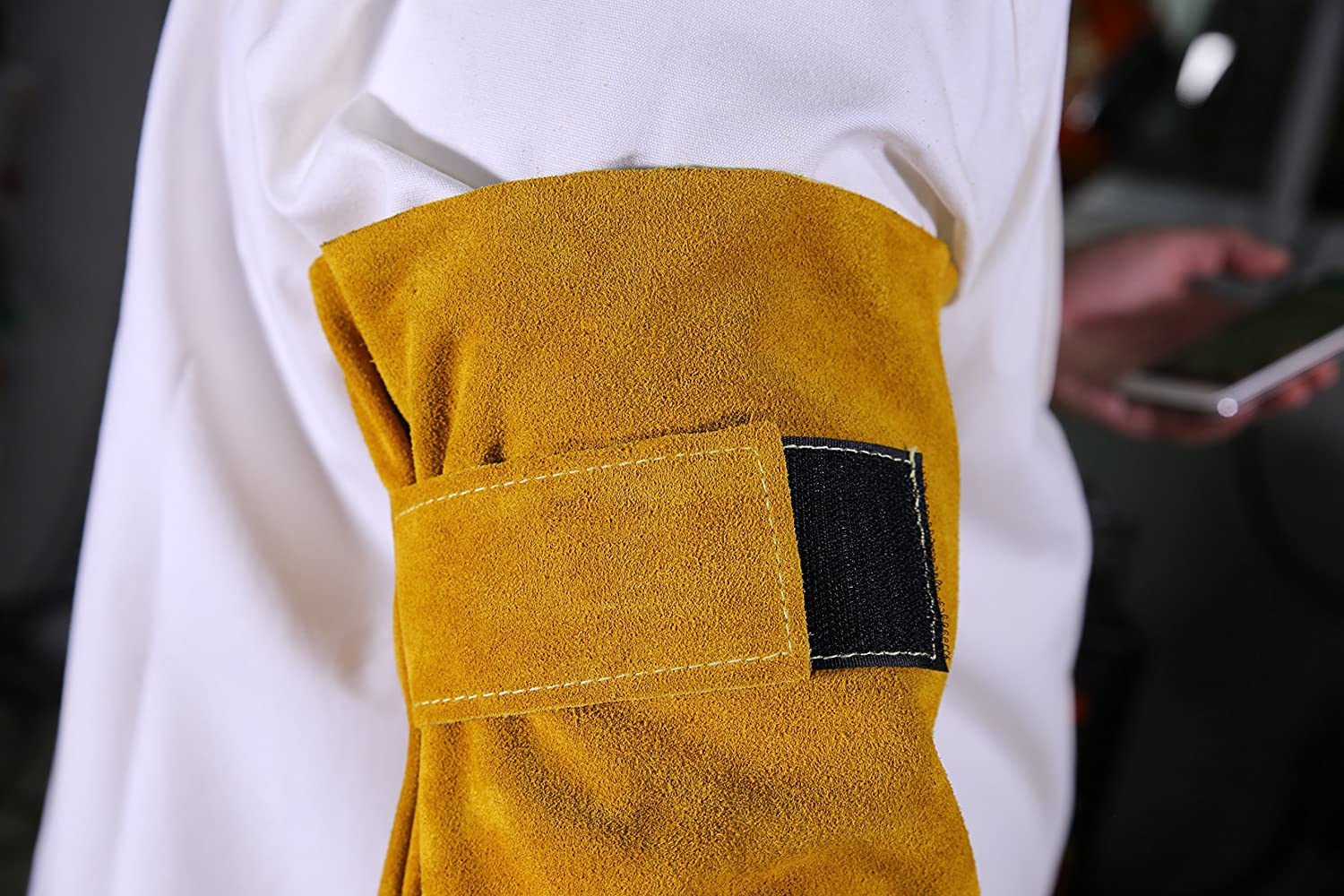 AP-9119 Golden ColorSplit Leather arm Protective Sleeves in Pair Height 19 inch