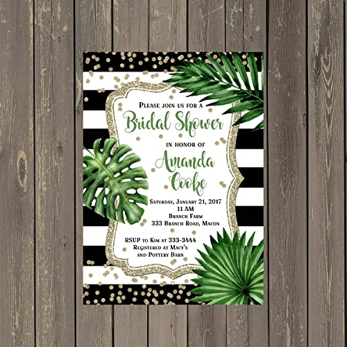 Amazon tropical leaves monstera plant bridal shower invitations tropical leaves monstera plant bridal shower invitations with black and white stripes and gold glitter look filmwisefo