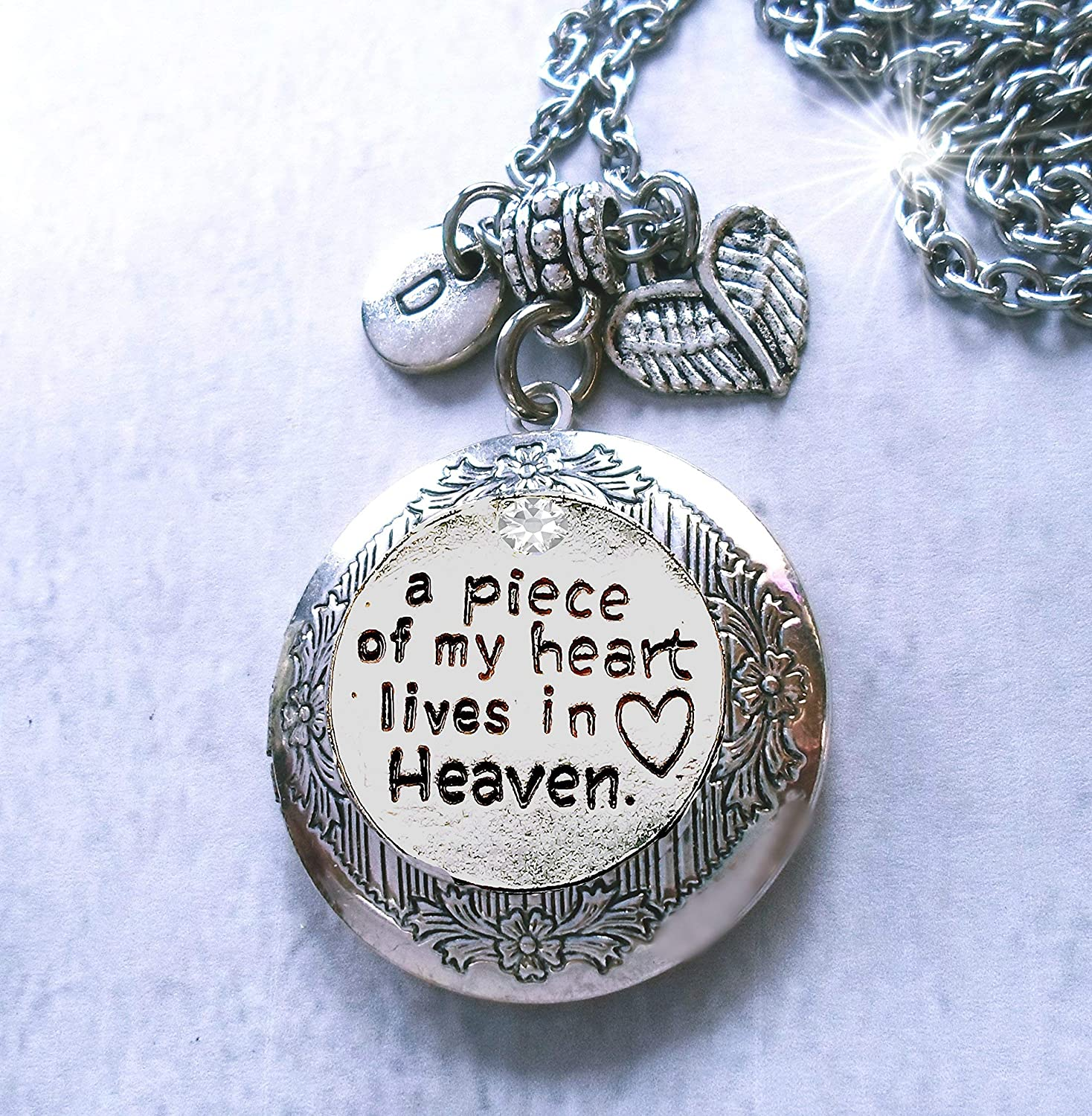 A Piece of my Heart is in Heaven made with Swarovski Crystal Heart Necklace