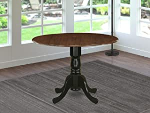 East West Furniture DMT-WBK-TP Dublin Dining Made of Rubber Wood offering Walnut Finish Table Top with Two 9 Inch Drop Leaves, 42 Inch Round, Wirebrushed Black Pedestal