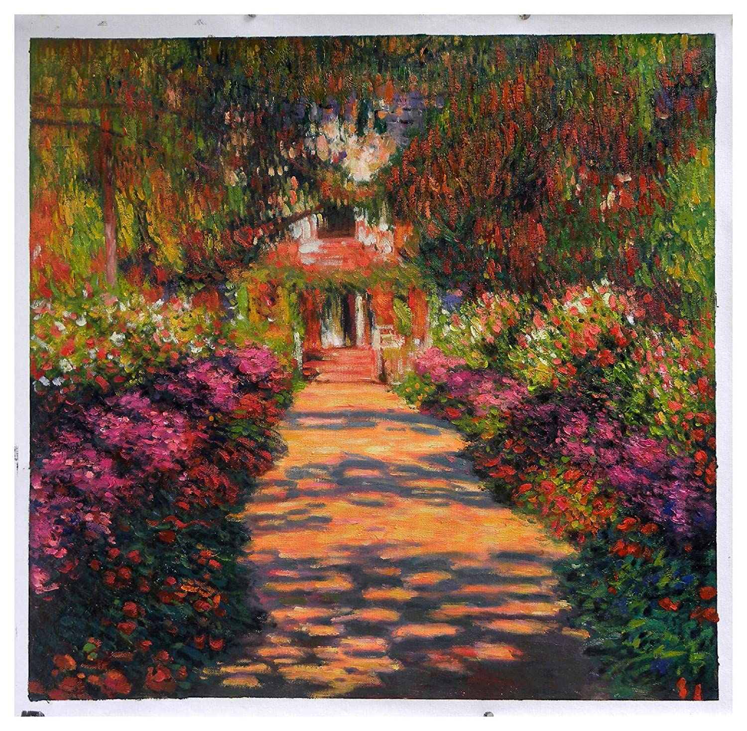 Pathway in Monet's Garden at Giverny - Claude Monet hand-painted oil painting reproduction,Home Garden Flower Landscape,living room wall art