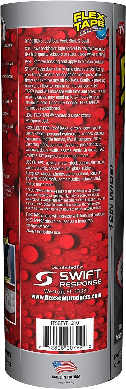 Gray Flex Tape Rubberized Waterproof Tape 12 inches x 10 feet