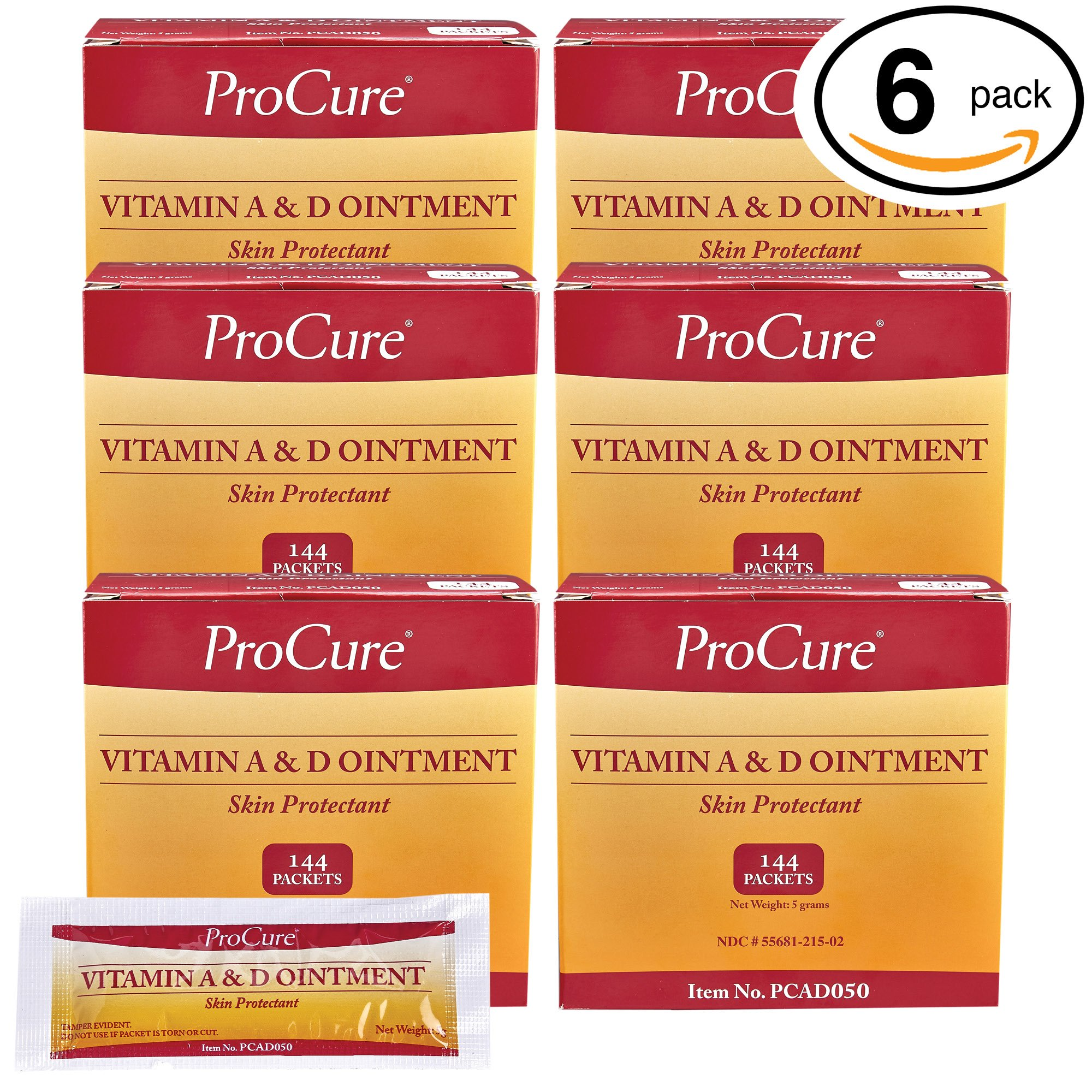 ProCure Vitamin A and D Ointment, Treats and Prevents Diaper Rash - Lanolin and Petrolatum Skin Protectant Formula Seals in Wetness - for Cuts, Dry or Chaffed Skin (6 Pack, 144 Packets)