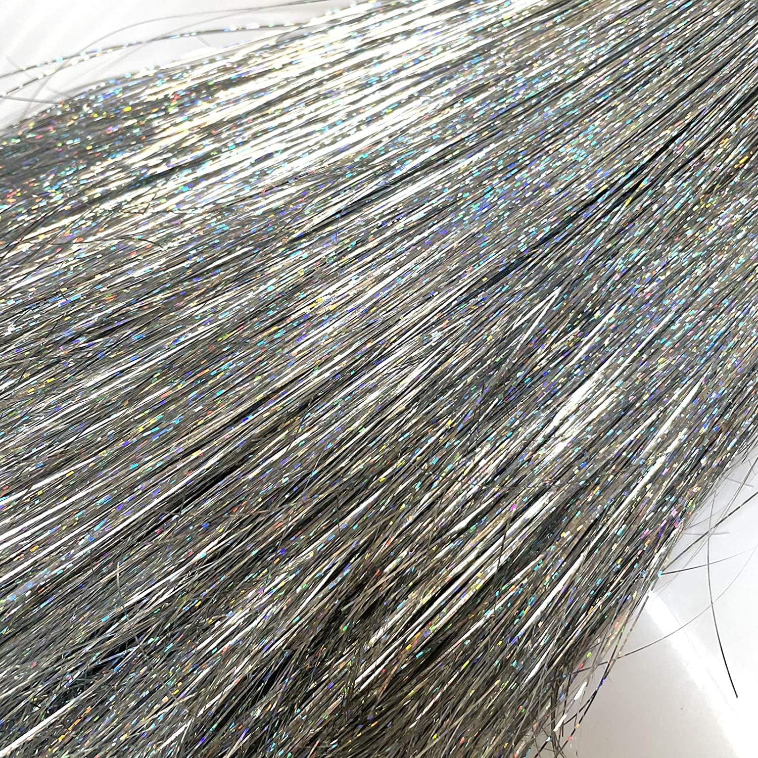llxieym Christmas Icicles Tinsel Christmas Tree Iridescent Tinsel Foil Fringe (Silver, 12000)