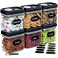 Airtight Food Storage Container Set - Set of 6, All Same Size, Includes Labels & Marker - Kitchen & Pantry Organization Dry F