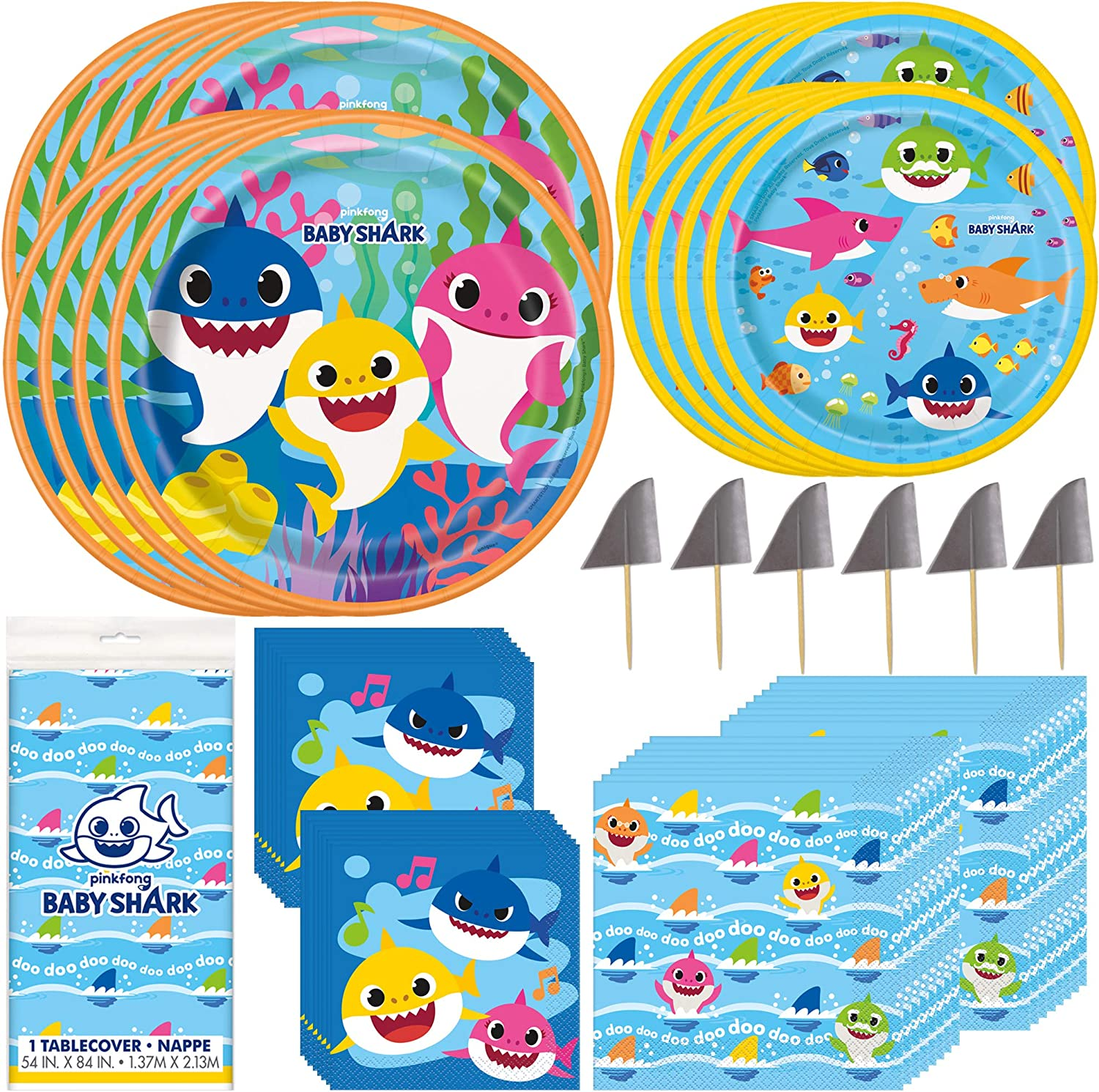 Unique Baby Shark Dinnerware Party Bundle | Luncheon Napkins, Dinner & Dessert Plates, Table Cover | Great for Themed Parties, Kid's Birthday, Halloween - Officially Licensed by Unique