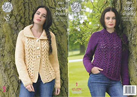 364f2da75 Image Unavailable. Image not available for. Colour  King Cole Ladies Super  Chunky Knitting Pattern Lace Effect Long Sleeve Cardigan ...