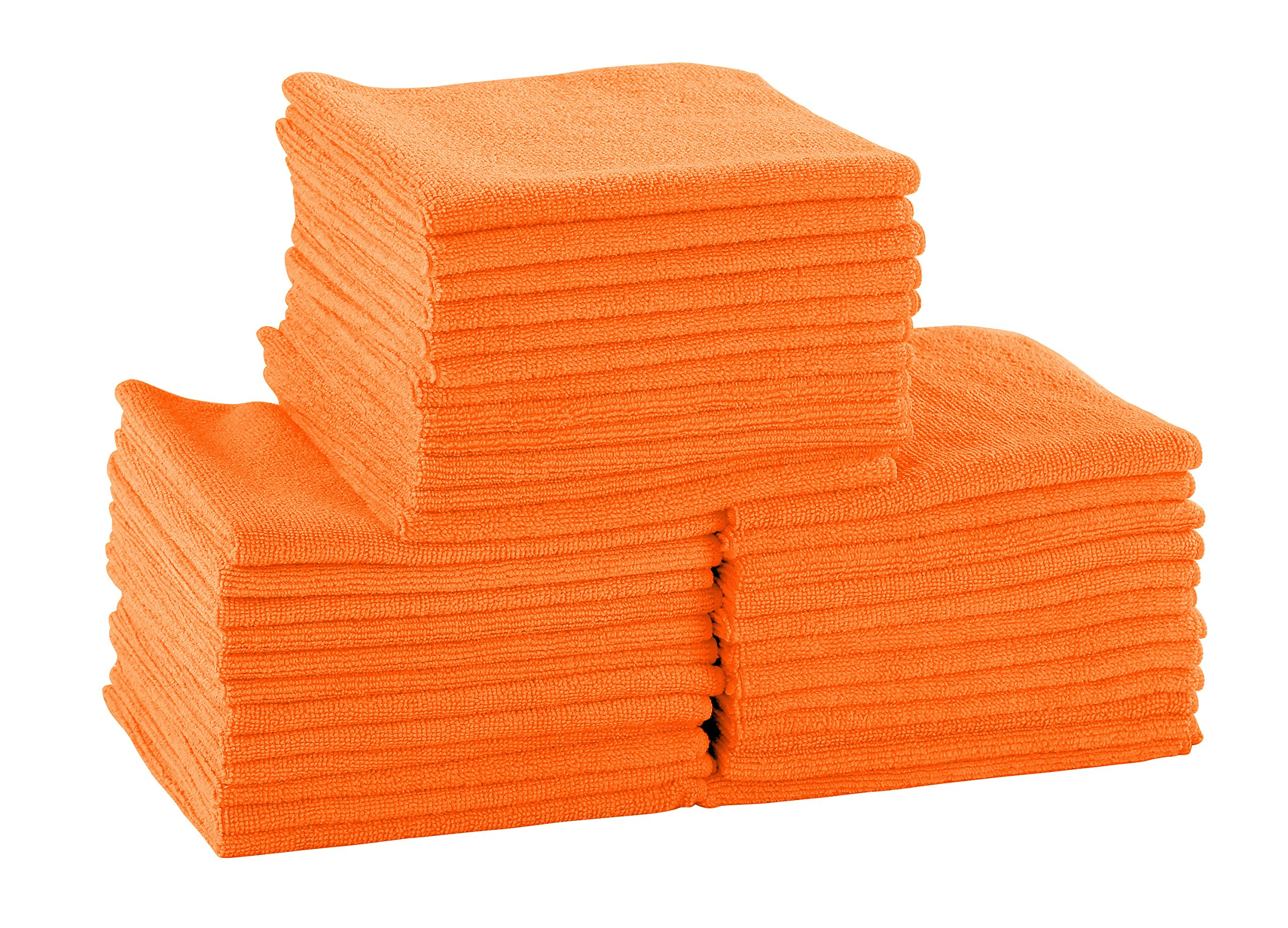 DRI Professional Extra-Thick Microfiber Cleaning Cloth - 16 in x 16 in - 72 Pack (Orange) - Ultra-Absorbent, Quick Drying, Chemical-Free Cleaning