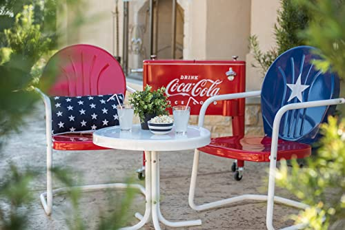 Leigh Country TX 93486 Retro Metal Arm Chair, Red and White