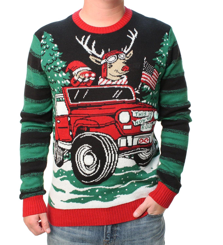 Ugly Christmas Sweater Men's Jeep Reindeer LED Light Up Pullover Sweatshirt