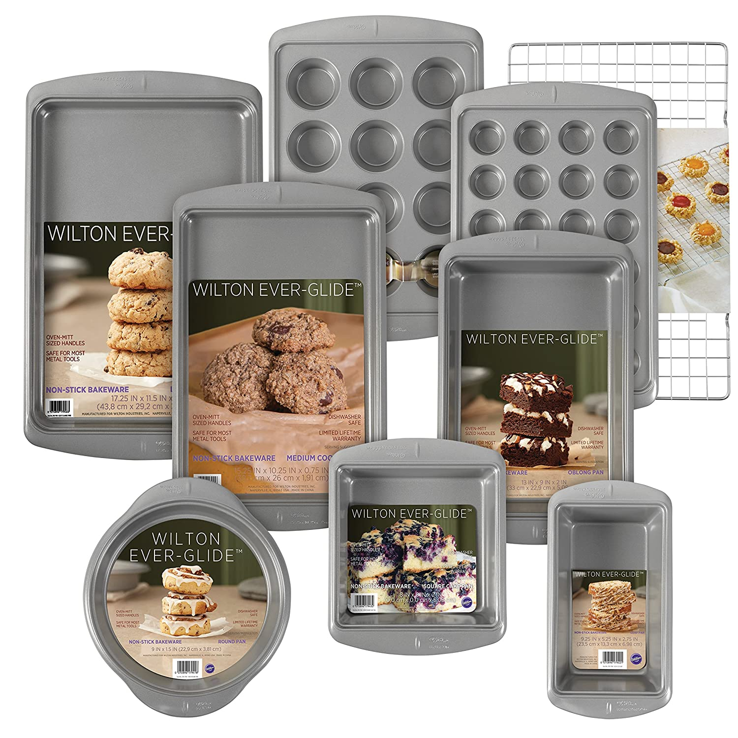 Wilton Ever-Glide Non-Stick Bakeware Set, 9-Piece - Loaf Pan, Oblong pan, 12-Cup Muffin Pan, Round and Square Cake Pans, Large Cookie Pan, Medium Cookie Pan, 24-Cup Mini Muffin Pan, Cooling Grid 9-Piece - Loaf Pan 2104-3926