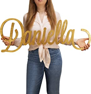 Lara Laser Works Custom Name Sign - 12 to 35 Inches, 18 Colors & 4 Fonts - Personalized Name Signs for Wall Decor, Wooden Letters Room Decor, Baby Room Gifts, Nursery Decor, Personalized Plaques