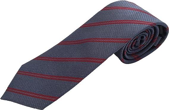 Corbata de hombre gris - corbata gris oscuro- corbata rayas burdeos - Corbatas fabricadas artesanalmente - Pietro Baldini: Amazon.es: Ropa y accesorios