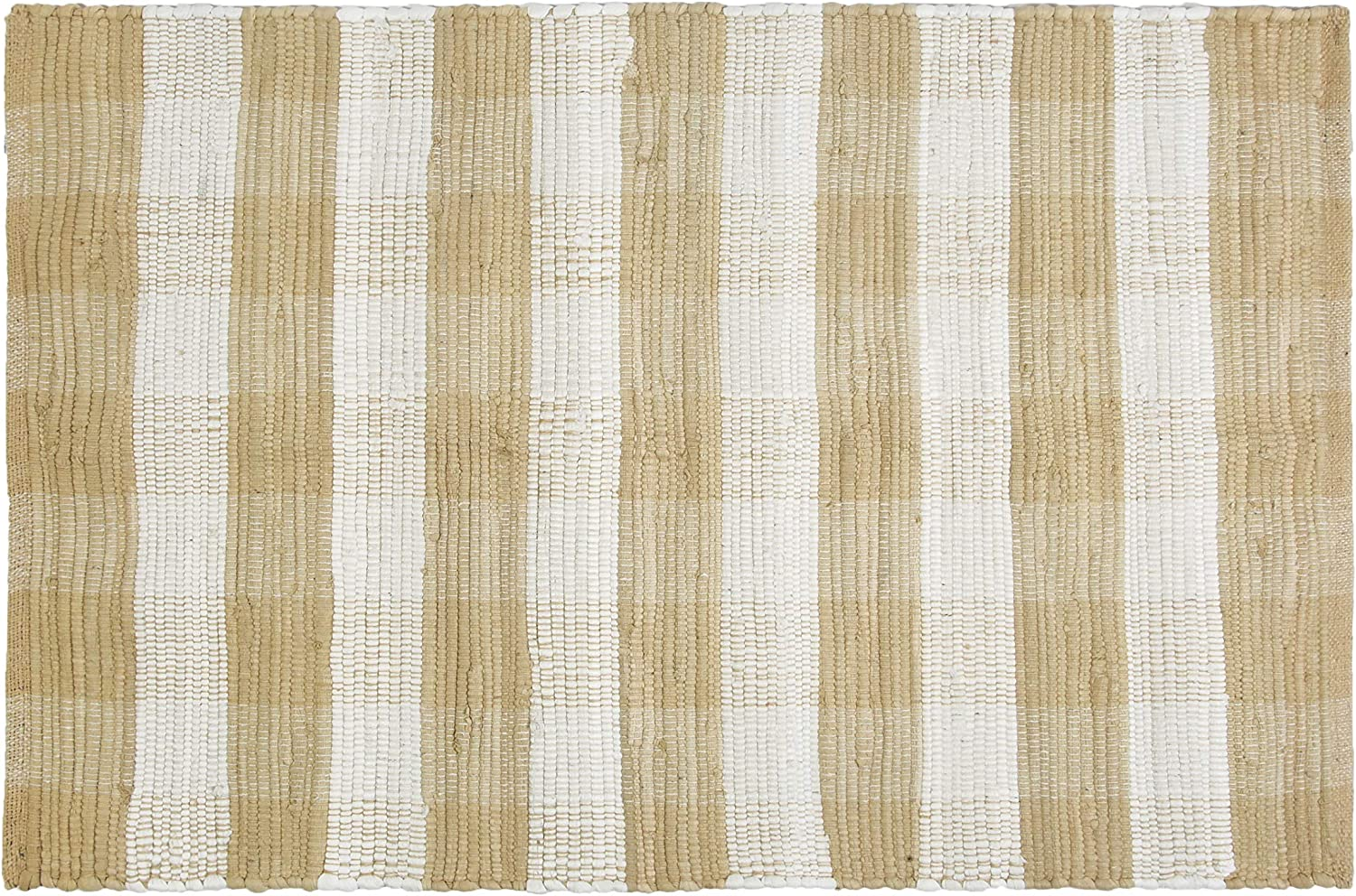 GLAMBURG Cotton Buffalo Check Plaid Rugs Washable, Checkered Rug Welcome Door Mat 22x34 Rug for Kitchen Carpet Bathroom Outdoor Porch Laundry Living Room, Farmhouse Reversible Rag Rug Beige Natural