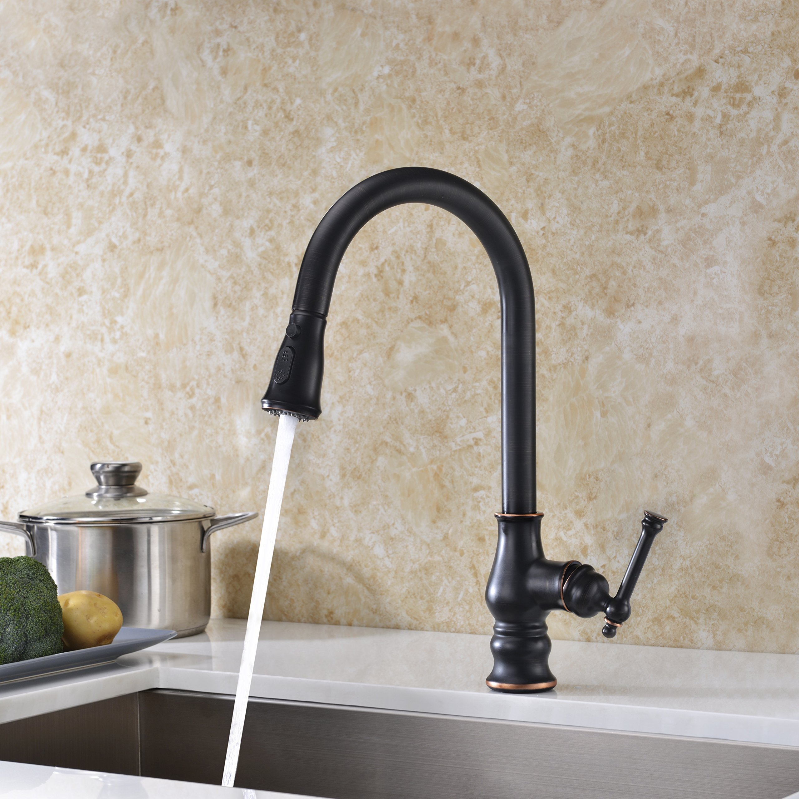 Kitchen Faucet with Pull Out Sprayer Delle Rosa Solid Brass Single Handle High Arc 360 Degree Swivel Pre-rinse Kitchen Sink Faucet Oil Rubbed Bronze by Delle Rosa (Image #4)