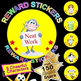 Reward Stickers / Labels For Teachers or Parents x 108 Plus 150 Gold Stars A BIG Encouragement For Your Little Ones Send 6 Different Cheerful Characters Per Sheet 18 Different Motivational Phrases Per Sheet