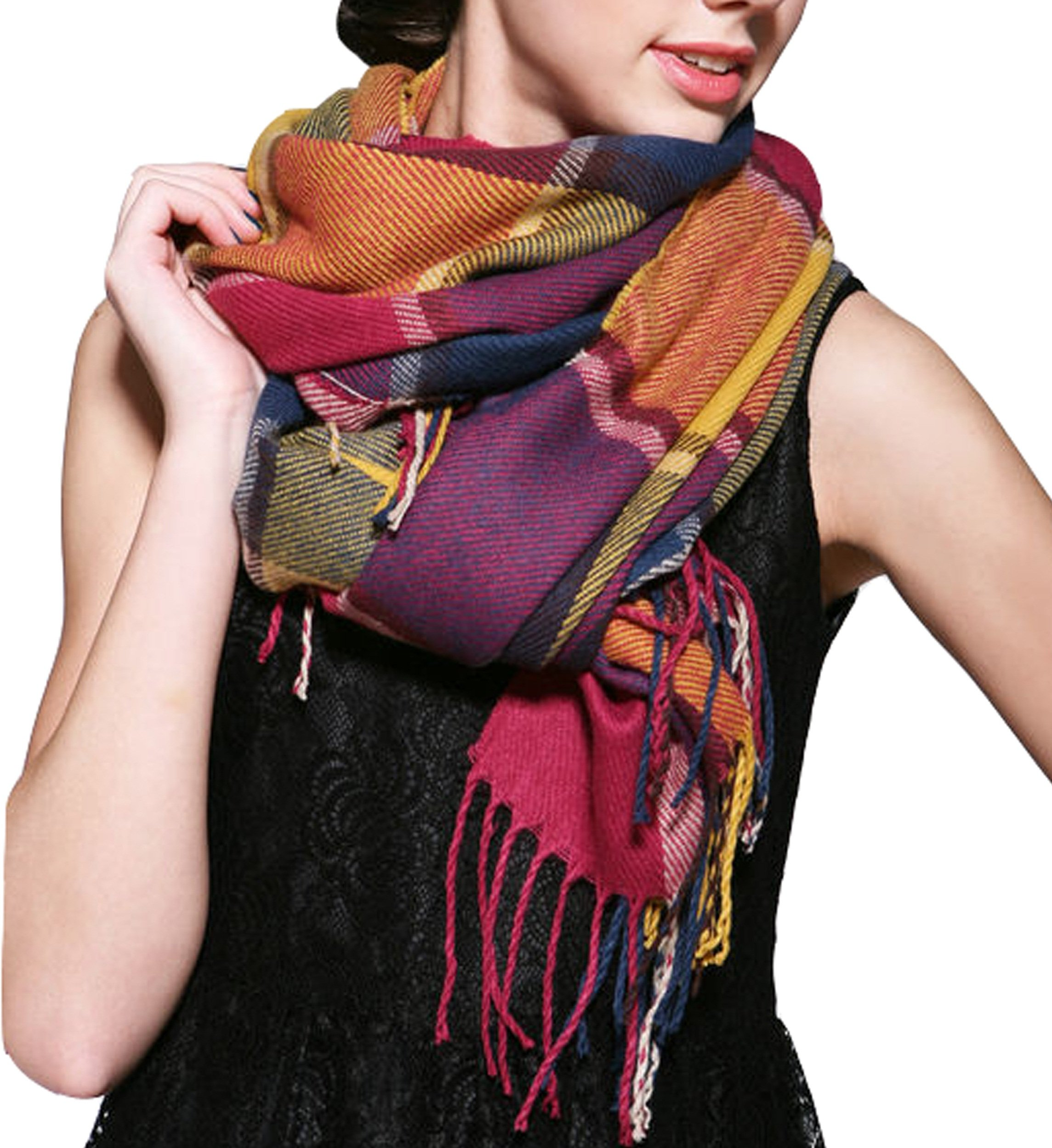 Wander Agio Womens Scarves Warm Long Gird Shawl Wraps Wool Large Scarf Colours
