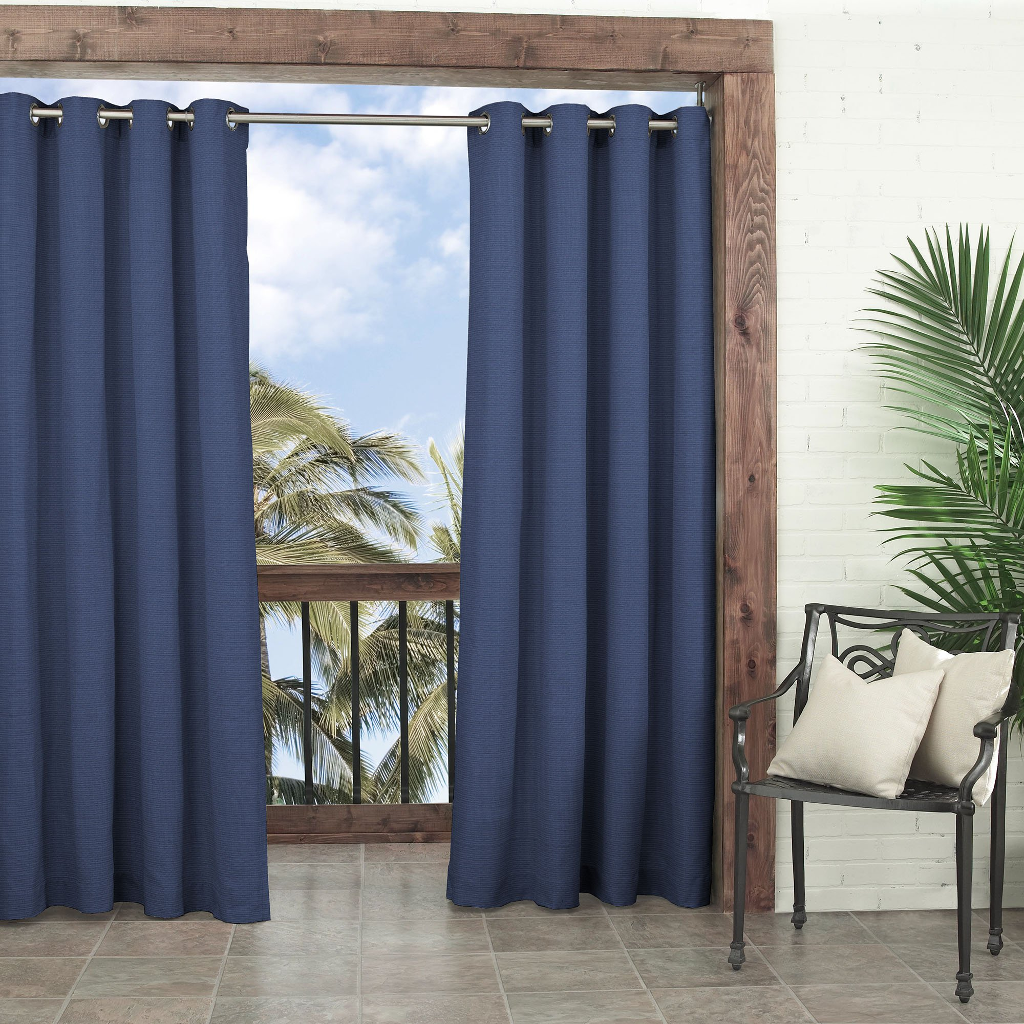 PARASOL Outdoor Curtains for Patio - Key Largo 52'' x 84'' Thermal Insulated Darkening Single Panel Drape Blinds Backyard, Indigo