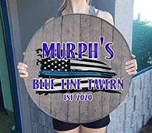 Rustic Wall decor Personalized Thin Blue Line Flag American Flag Personalized Wood Bar Sign Rustic Home decor Wall Art Gift Man Cave Wall Decor Barnwood Gray 22 inch wall decor