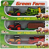 Set Of 3 Piece Die Cast And Plastic Tractor Trailer Farm Vehicles Toy Play Set
