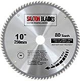 Saxton TCT Lame de scie à bois circulaire 250mm x 30mm x 80dents pour Bosch Makita Dewalt, pour scie de 255mm.