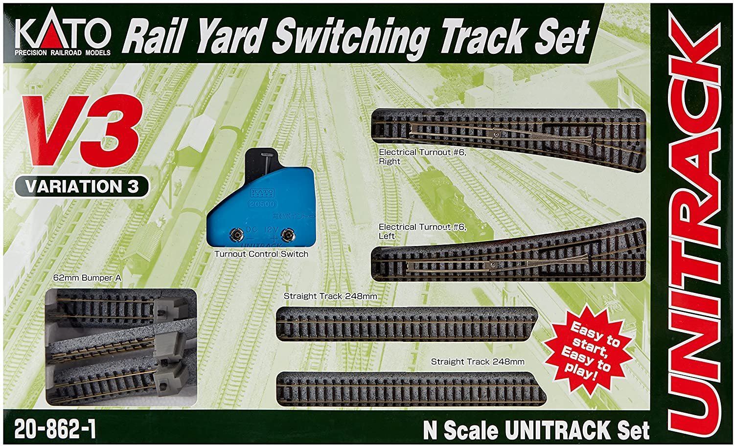 Kato USA Model Train Products V3 UNITRACK Rail Yard Switching Set 91U7NOtjxmLSL1500_